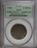 Colonials: , 1783 COPPER Nova Constellatio Copper, Pointed Rays, Large US XF40 PCGS. Crosby 1-A, R.3. Sharply contrasted with medium oli...