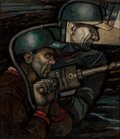 Mainstream Illustration, Robert Patterson (American, 1898-1981). The Miners. Oil onpanel. 20.5 x 17.5 in.. Signed lower right. ...