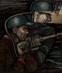 Robert Patterson (American, 1898-1981) The Miners Oil on panel 20.5 x 17.5 in. Signed lower ri