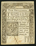 Colonial Notes:Connecticut, Connecticut June 7, 1776 10s Pen Cancel Choice About New.. ...