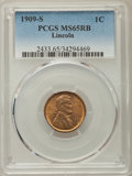 1909-S 1C Lincoln MS65 Red and Brown PCGS. PCGS Population: (307/17). NGC Census: (148/16). CDN: $550 Whsle. Bid for pro...