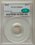 1862 3CS MS64 PCGS. CAC. PCGS Population: (290/366). NGC Census: (300/365). MS64. Mintage 343,000
