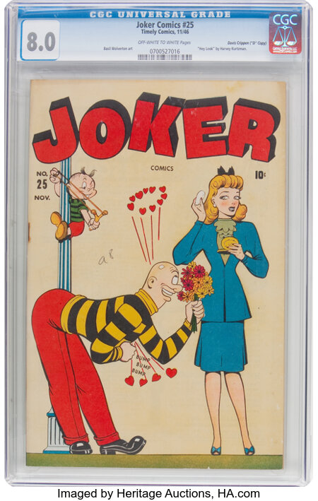 """Joker Comics #25 Davis Crippen (""""D"""" Copy) Pedigree (Timely, 1946) CGC VF 8.0 Off-white to white pages...."""