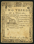 Colonial Notes:Continental Congress Issues, Continental Currency February 17, 1776 $2/3 Extremely Fine.. ...