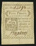 Colonial Notes:Connecticut, Connecticut October 11, 1777 5d Slash Cancel Very Fine-ExtremelyFine.. ...
