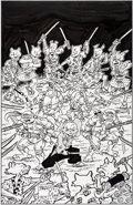 "Original Comic Art:Covers, Stan Sakai Teenage Mutant Ninja Turtles/Usagi Yojimbo""Books-a-Million"" Variant Cover Original Art (IDW, 2017)...."