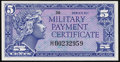 Military Payment Certificates:Series 611, Series 611 5¢ Replacement Very Choice New.. ...