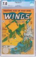 Golden Age (1938-1955):War, Wings Comics #35 (Fiction House, 1943) CGC FN/VF 7.0 Cream tooff-white pages....