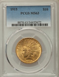 Indian Eagles: , 1915 $10 MS63 PCGS. PCGS Population: (602/409). NGC Census: (430/443). CDN: $1,250 Whsle. Bid for problem-free NGC/PCGS MS6...