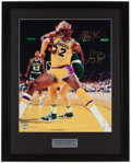 Baseball Collectibles:Photos, Larry Bird and Magic Johnson Multi Signed Oversized Photograph.....