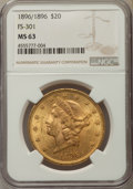 Liberty Double Eagles, 1896 $20 Repunched Date, FS-301, MS63 NGC. NGC Census: (32/12). PCGS Population: (33/10). MS63. ...