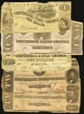 Confederate Notes:Group Lots, Confederate $1s and $2s 1862-63.. ... (Total: 5 notes)