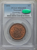 1850 1C N-7, R.2, MS64 Red and Brown PCGS. CAC. PCGS Population: (4/6). NGC Census: (4/12). MS64. From The Baysid...(PCG...