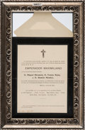 Miscellaneous:Ephemera, Printed Invitation to the 43rd Anniversary of the Death of EmperorMaximilian I....