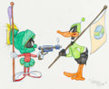 Animation Art:Production Drawing, Virgil Ross - Marvin the Martian and Daffy Duck Drawing (WarnerBrothers, c. 1990s)....