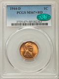 Lincoln Cents, 1944-D 1C MS67+ Red PCGS. CAC. PCGS Population: (330/2). NGC Census: (994/0). CDN: $80 Whsle. Bid for problem-free NGC/PCGS...