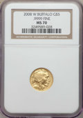 2008-W $5 Tenth-Ounce Gold Buffalo, .9999 Fine Gold 70 NGC. NGC Census: (2479). PCGS Population: (757)