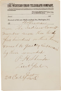 """Philip Sheridan's Telegram to General W. T. Sherman, 7 July 1876: The Army's """"First Responders"""" to the 7th Cav..."""