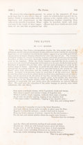 "Books:Literature Pre-1900, [Edgar Allan Poe]. ""The Raven"" [appearing in] The AmericanReview: A Whig Journal of Politics, Literature, Artand..."