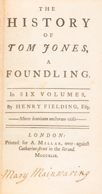 Henry Fielding. The History of Tom Jones, a Foundling. London: A. Millar, 1749. Second edition