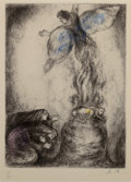 Fine Art - Work on Paper:Print, Marc Chagall (1887-1985). Sacrifice de Manoach (pl. 53),from The Bible series, 1956. Etching with handcoloring onA...