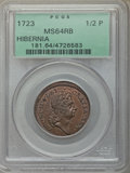 1723 1/2 P Hibernia Halfpenny MS64 Red and Brown PCGS. PCGS Population: (24/11). NGC Census: (2/2). From The Bay...(PCGS...