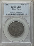 Colonials, 1785 Nova Constellation Copper, Blunt Rays VF30 PCGS. PCGS Population: (5/35). NGC Census: (5/12). CDN: $550 Whsle. Bid for ...