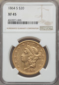 Liberty Double Eagles, 1864-S $20 XF45 NGC....