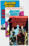 Magazines:Fanzine, Amazing Heroes #14-107 Near Complete Range Group of 89 (Redbeard, Inc./Fantagraphics, 1982-86) Condition: Average FN.... (Total: 89 Comic Books)