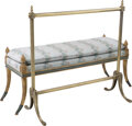 Furniture : French, A Louis XVI-Style Giltwood Banquette Bench with Brass Towe...