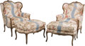 Furniture : French, A Pair of Louis XV-Style Wingback Armchairs with Ottomans, 20thcentury. 46 h x 30-1/2 w x 32 d inches (116.8 x 77.5 x 81.3 ...(Total: 4 Items)