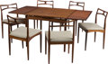 Furniture , A Seven-Piece Danish Dining Suite with Convertible Table, mid-20th century. 27-1/2 h x 35-1/2 w x 35-1/2 d inches (69.9 x 90... (Total: 7 Items)