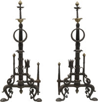 A Large Pair of Renaissance Revival-Style Iron and Brass Andirons 48-1/4 h x 20-1/2 w x 11 d inches (122.6 x 52.1