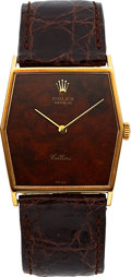 Timepieces:Wristwatch, Rolex Cellini Ref. 4122 Gent's Gold Wristwatch, Mahogany Dial. ...