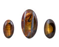 Gems:Cabochons, Tiger's Eye Cabochon Trio. Mt. Brockman Station.Pilbara. Western Australia. 2.64 x 1.51 x 0.44inches (6.70 x... (Total: 3 Items)