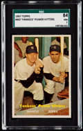 Baseball Cards:Singles (1950-1959), 1957 Topps Mantle/Berra Yankees' Power Hitters #407 SGC 84 NM 7....