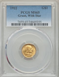 Commemorative Gold, 1922 G$1 Grant Gold Dollar, With Star, MS65 PCGS....