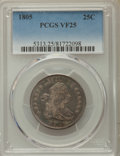 Early Quarters: , 1805 25C VF25 PCGS. PCGS Population: (27/182). NGC Census: (9/101).Mintage 121,394. ...