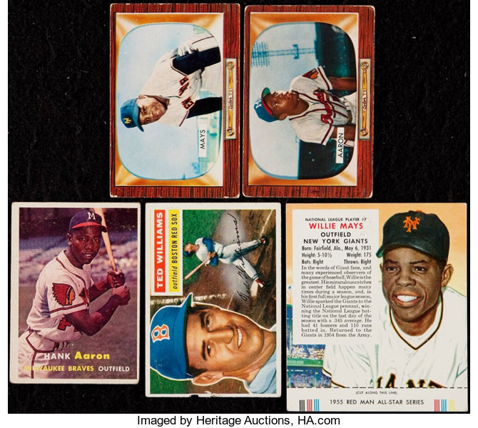 1950s Hank Aaron Willie Mays And Ted Williams Collection