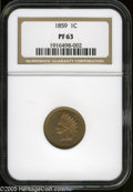 Proof Indian Cents: , 1859 1C PR63 NGC. Sharply struck with highly reflective, lightly toned surfaces that have a few scattered flyspecks on each...
