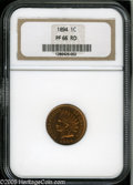 Proof Indian Cents: , 1894 1C PR66 Red NGC. This piece has incredibly rich, even golden-orange color with light green accents over both sides, an...