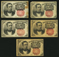 Fractional Currency:Fifth Issue, Three Fr. 1265 10¢ Fifth Issue Notes Fine or Better;. Two Fr. 126610¢ Fifth Issue Notes Fine-Very Fine or Better.. ... (Total: 5notes)