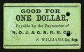 Obsoletes By State:Louisiana, New Orleans, LA- N(ew) O(rleans,) J(ackson) & G(reat) N(orthern) R(ail) R(oad) Co. Chit $1 ND circa 1862-63. ...