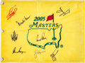 Golf Collectibles:Autographs, 2005 Multi-Signed Masters Flag.. ...