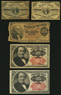 Fractional Currency:Third Issue, Two Fr. 1226 3¢ Third Issue Notes Fine or Better;. Fr. 1301 25¢ Fourth Issue Good;. Two Fr. 1309 25¢ Fifth Issue Notes Very Fi... (Total: 5 notes)