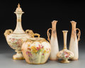 Ceramics & Porcelain, British:Other , Five Royal Worcester and Associated Porcelain Vases, late19th-early 20th centuries. Marks: (various). 13-3/8 inches high(3... (Total: 5 Items)