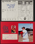 """Autographs:Photos, Stan Musial Signed Check/Photograph Display Plus Signed """"3000 Hit""""Scorecard.. ..."""