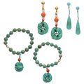 Estate Jewelry:Lots, Turquoise, Glass, Silver, Gold Jewelry. ... (Total: 4 Items)