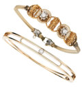 Estate Jewelry:Bracelets, Diamond, Gold, Gold-Filled Bracelets . ... (Total: 2 Items)