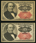 Fractional Currency:Fifth Issue, Two Fr. 1309 25¢ Fifth Issue Notes Very Fine-Extremely Fine or Better.. ... (Total: 2 notes)